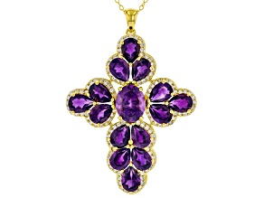 Purple Amethyst 18K Yellow Gold Over Sterling Silver Pendant With Chain. 8.00ctw