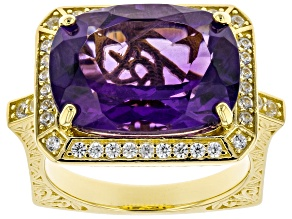 Purple Amethyst 18K Yellow Gold Over Sterling Silver Ring. 7.65ctw