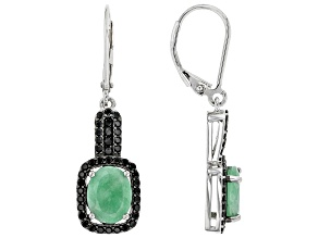 Green Emerald Rhodium Over Sterling Silver Earrings. 2.70ctw