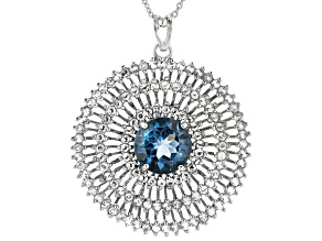 London Blue Topaz Rhodium Over Sterling Silver Pendant With Chain. 6.01ctw