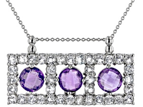 Purple Amethyst Rhodium Over Sterling Silver Pendant with Chain. 9.00ctw