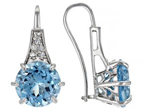 Blue Topaz Rhodium Over Sterling Silver Earrings 13.22ctw