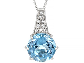 Blue Topaz Rhodium Over Sterling Silver Pendant with Chain. 6.26ctw
