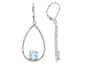 Blue Topaz Rhodium Over Sterling Silver Earrings. 3.30ctw