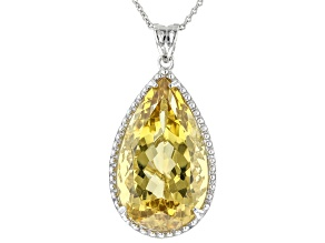 Yellow Citrine Rhodium Over Sterling Silver Pendant with Chain. 16.00ctw