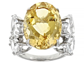 Yellow Citrine Rhodium Over Sterling Silver Ring 15.00ctw