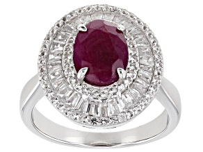 Red Ruby Rhodium Over Sterling Silver Ring 2.70ctw