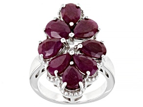 Red Ruby Rhodium Over Sterling Silver Ring 4.50ctw