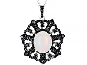 Multi-Colored Ethiopian Opal Rhodium Over Sterling Silver Pendant with Chain. 2.99ctw
