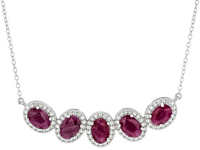 Red Ruby With Rhodium Over Sterling Silver Necklace 4.50ctw