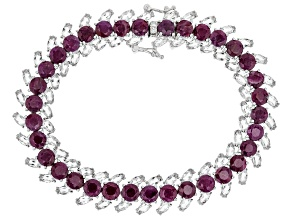 Red Ruby Rhodium Over Sterling Silver Bracelet 31.00ctw