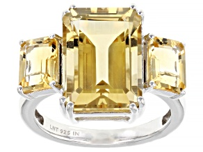 Yellow Citrine Rhodium Over Sterling Silver Ring 8.00ctw