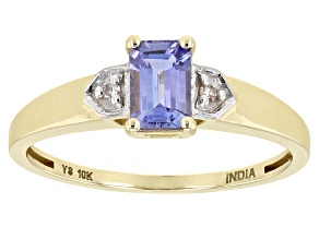 Blue Tanzanite 10K Yellow Gold Ring. 0.54ctw