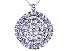 Blue Tanzanite Rhodium Over Sterling Silver Pendant with Chain. 9.75ctw