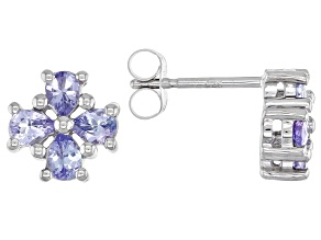 Blue Tanzanite Rhodium Over Sterling Silver Earrings. 1.13ctw