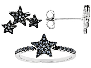 Black Spinel Rhodium Over Sterling Silver Star Ring and Earring Set. 0.60ctw.