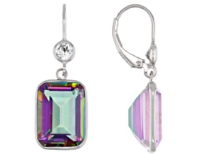 Multi-Color Quartz Rhodium Over Sterling Silver Earrings 11.90ctw