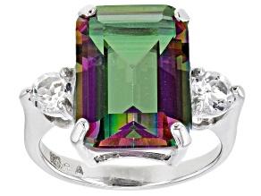 Multi-color Quartz Rhodium Over Sterling Silver Ring 6.30ctw