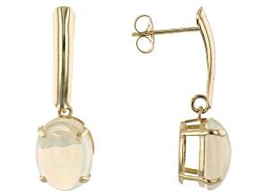Multi-Color Ethiopian Opal 10K Yellow Gold Earrings. 2.05ctw