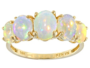 Multi-Color Oval Ethiopian Opal 10k Yellow Gold Ring 2.20ctw