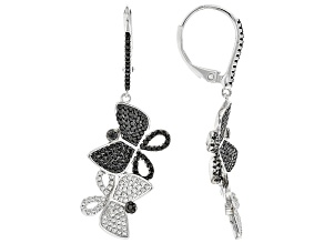 Black Spinel Rhodium Over Sterling Silver Earrings. 1.24ctw