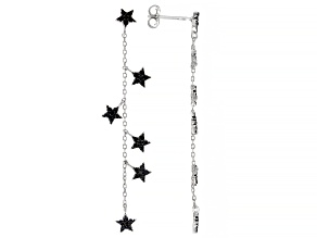 Black Spinel Rhodium Over Sterling Silver Dangle Star-Shaped Earrings 0.79ctw