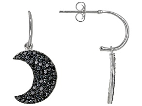 Black Spinel Rhodium Over Sterling Silver Dangle Moon-Shaped Earrings 1.35ctw