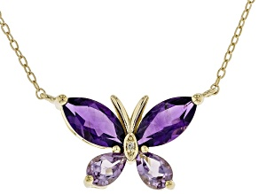 Purple Amethyst 18K Yellow Gold Over Sterling Silver Necklace 2.40ctw
