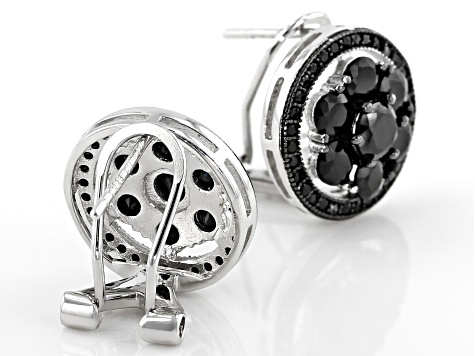 Black Spinel Rhodium Over Sterling Silver Stud Earrings 4.01ctw