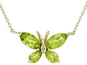 Green Manchurian Peridot ™ 18K Yellow Gold Over Sterling Silver Necklace. 2.47ctw