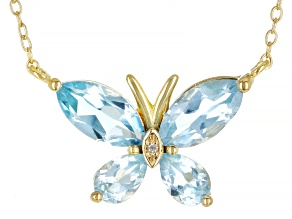 Sky Blue Topaz 18K Yellow Gold Over Sterling Silver Necklace. 3.25ctw