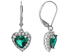 Green Lab Created Emerald Platinum Over Sterling Silver Earrings. 2.57ctw