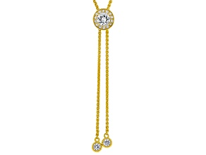 White Lab Created Sapphire 18k Yellow Gold Over Sterling Silver Bolo Necklace 1.04ctw