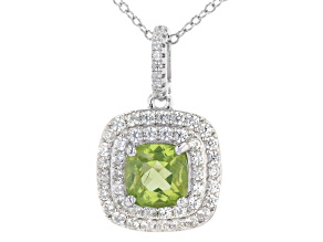 Green Peridot Rhodium Over Sterling Silver Pendant with Chain. 2.57ctw