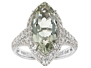 Green Prasiolite Rhodium Over Sterling Silver Ring. 4.84ctw.