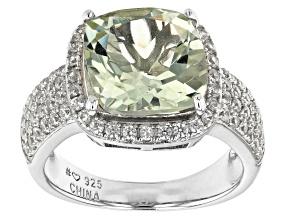 Green Prasiolite Rhodium Over Sterling Silver Ring. 4.45ctw