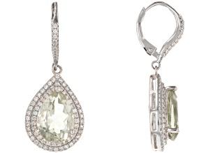 Green Prasiolite Rhodium Over Sterling Silver Earrings. 7.87ctw