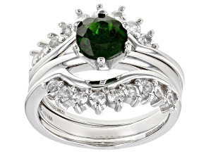 Green Chrome Diopside Rhodium Over Sterling Silver 3pc Ring Set. 2.44ctw