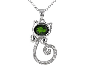 Green Chrome Diopside Rhodium Over Sterling Silver Cat Pendant With Chain. 1.59ctw