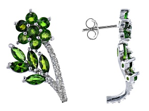 Green Chrome Diopside Rhodium Over Sterling Silver Earrings. 3.55