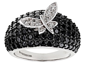 Black Spinel Rhodium Over Sterling Silver Ring. 3.37ctw