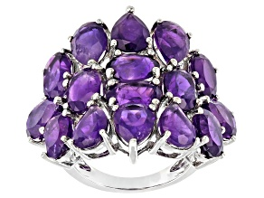 Purple Amethyst Rhodium Over Sterling Silver Ring. 8.50ctw.