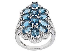 London Blue Topaz Rhodium Over Silver Ring 6.86ctw