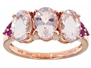 Pink Morganite 18K Rose Gold Over Sterling Silver Ring. 1.73ctw