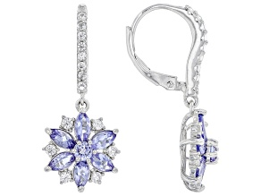 Blue Tanzanite Rhodium Over Sterling Silver Earrings. 2.22ctw
