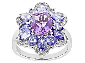 Purple Amethyst Rhodium Over Sterling Silver Ring. 3.97ctw