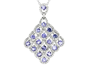 Blue Tanzanite Rhodium Over Sterling Silver Pendant with Chain. 2.81ctw.