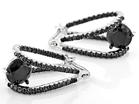 Black Spinel Rhodium Over Sterling Silver Dangle Earrings 4.83ctw