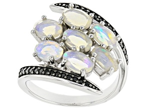 Multi-Colored Ethiopian Opal rhodium Over Sterling Silver Ring. 1.10ctw.