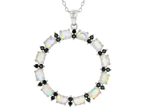Multi-Color Ethiopian Opal Rhodium Over Sterling Silver Pendant With Chain. 1.20ctw